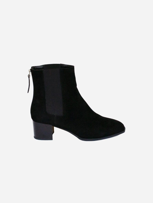 Lila Vegan Suede Block Heel Chelsea Boot | Black