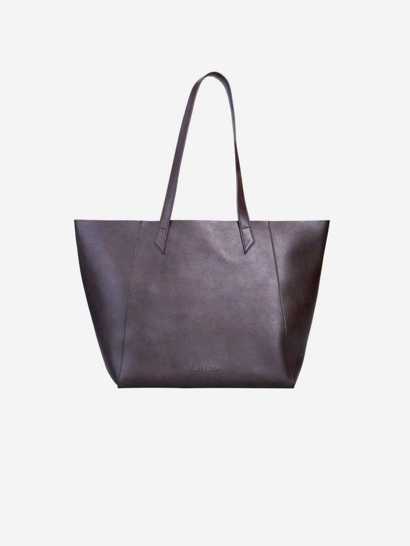 Totissimo Foldable Vegan Leather Tote Bag   Brown
