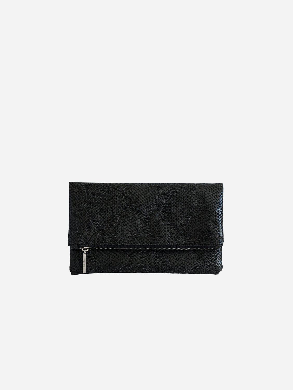 Eva Vegan Leather Foldover Clutch | Black