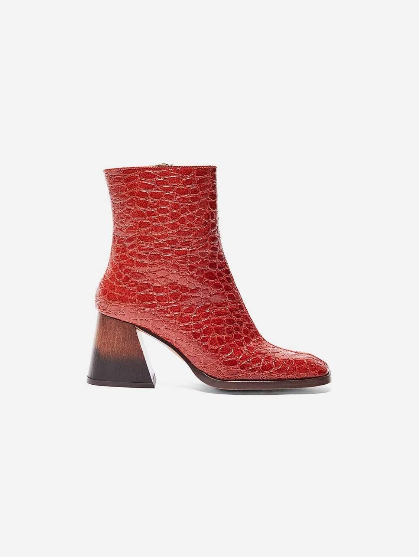 Georgina Vegan Patent Leather Ankle Boot   Terracotta Croc
