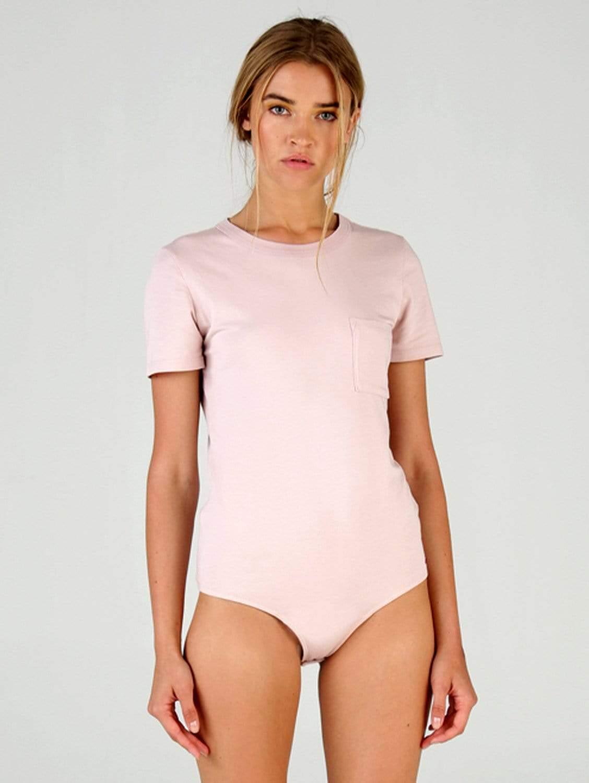 Alice Organic Cotton Crew Neck Tee Bodysuit | Pink