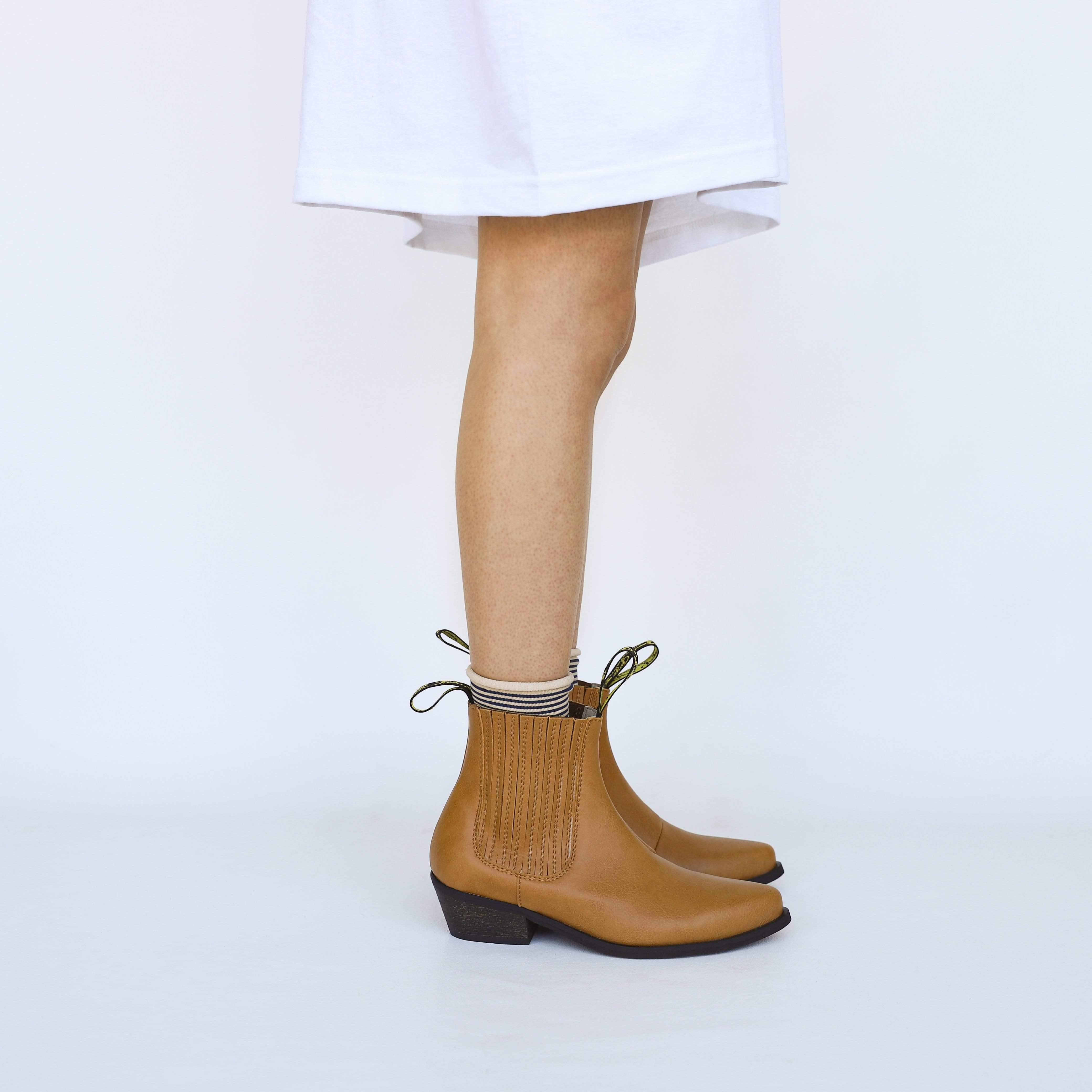 Good Guys Don't Wear Leather Duke Vegan Leather Cowboy Boots   Honey