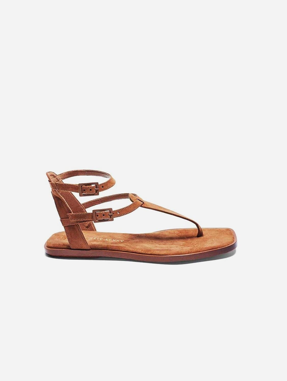 Julieta Recycled Polyester Vegan Suede Strap Sandal | Camel