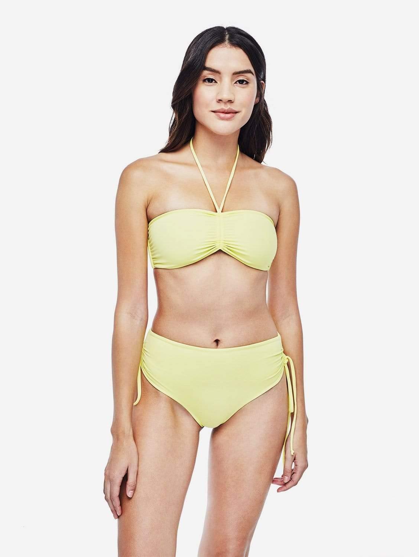 Vida ECONYL® Medium Rise Bikini Bottom   Reversible Lemon/Beige