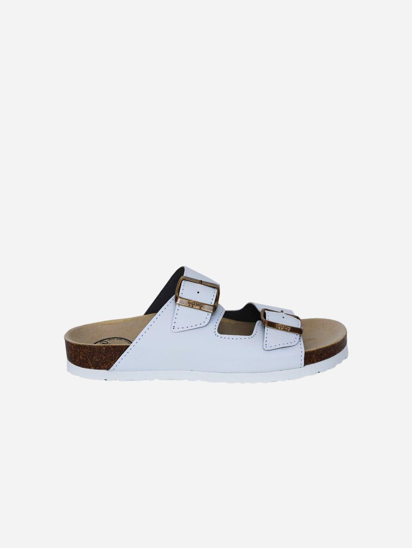Juno Apple Leather Vegan Buckled Slide-On Sandal   White