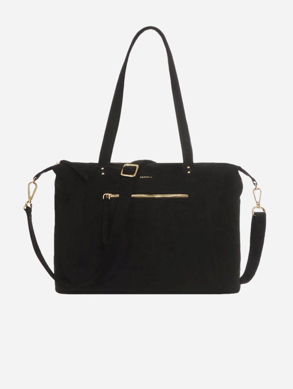 Mia Vegan Suede Tote Bag   Black