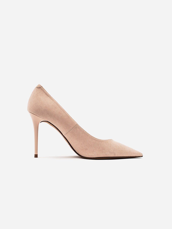 Scarlett Vegan Suede Stiletto Court Shoe   Blush Nude