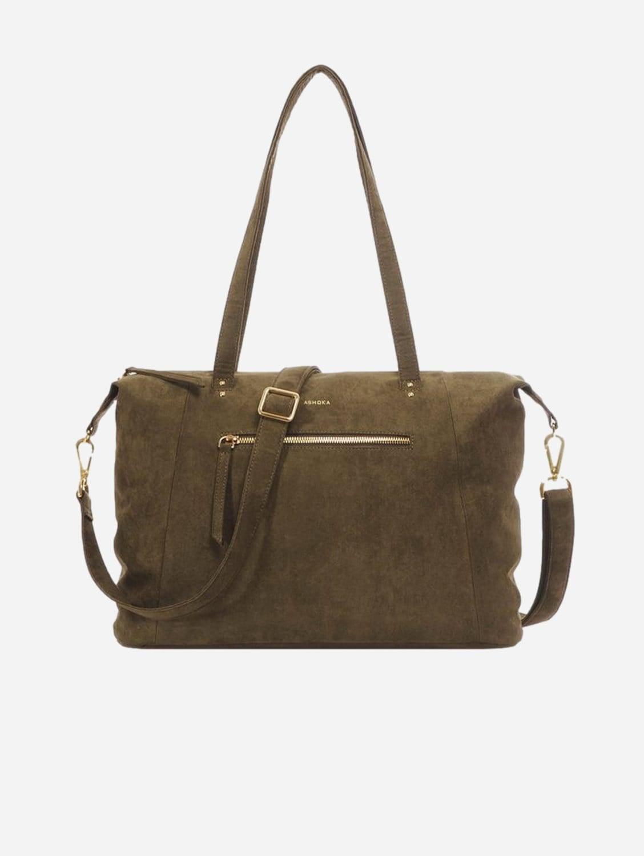 Mia Vegan Suede Tote Bag | Olive Green