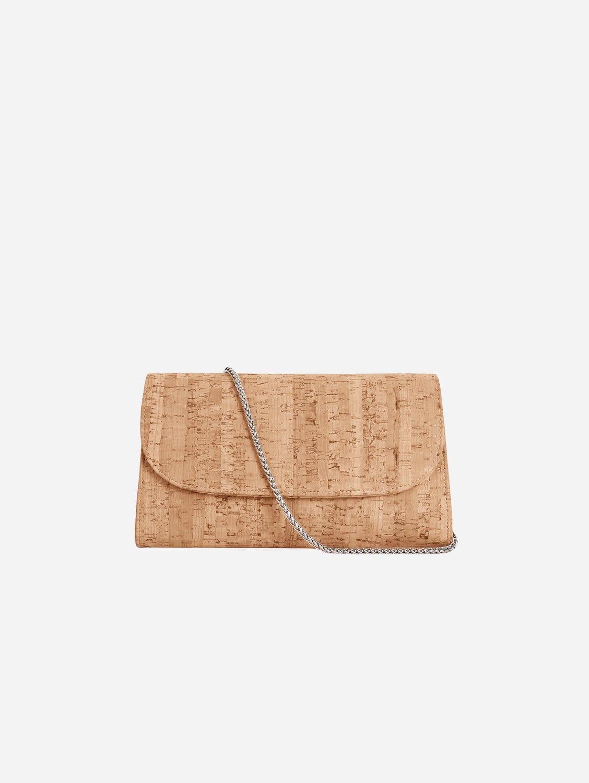 Didi Vegan Leather Clutch   Natural Cork