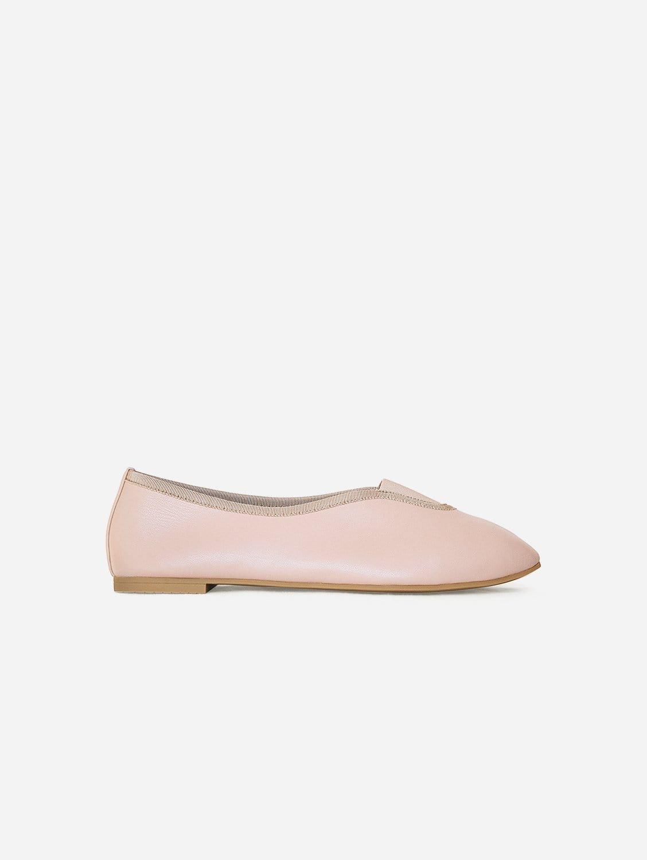 Rhythmic Vegan Nappa Leather Ballet Flats | Pink Beige