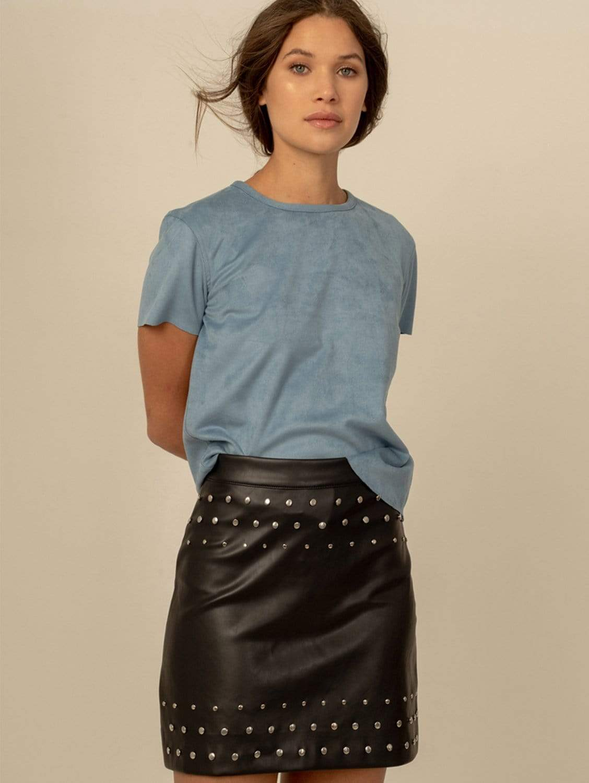 Charlie Studded Vegan Leather A-Line Mini Skirt | Black