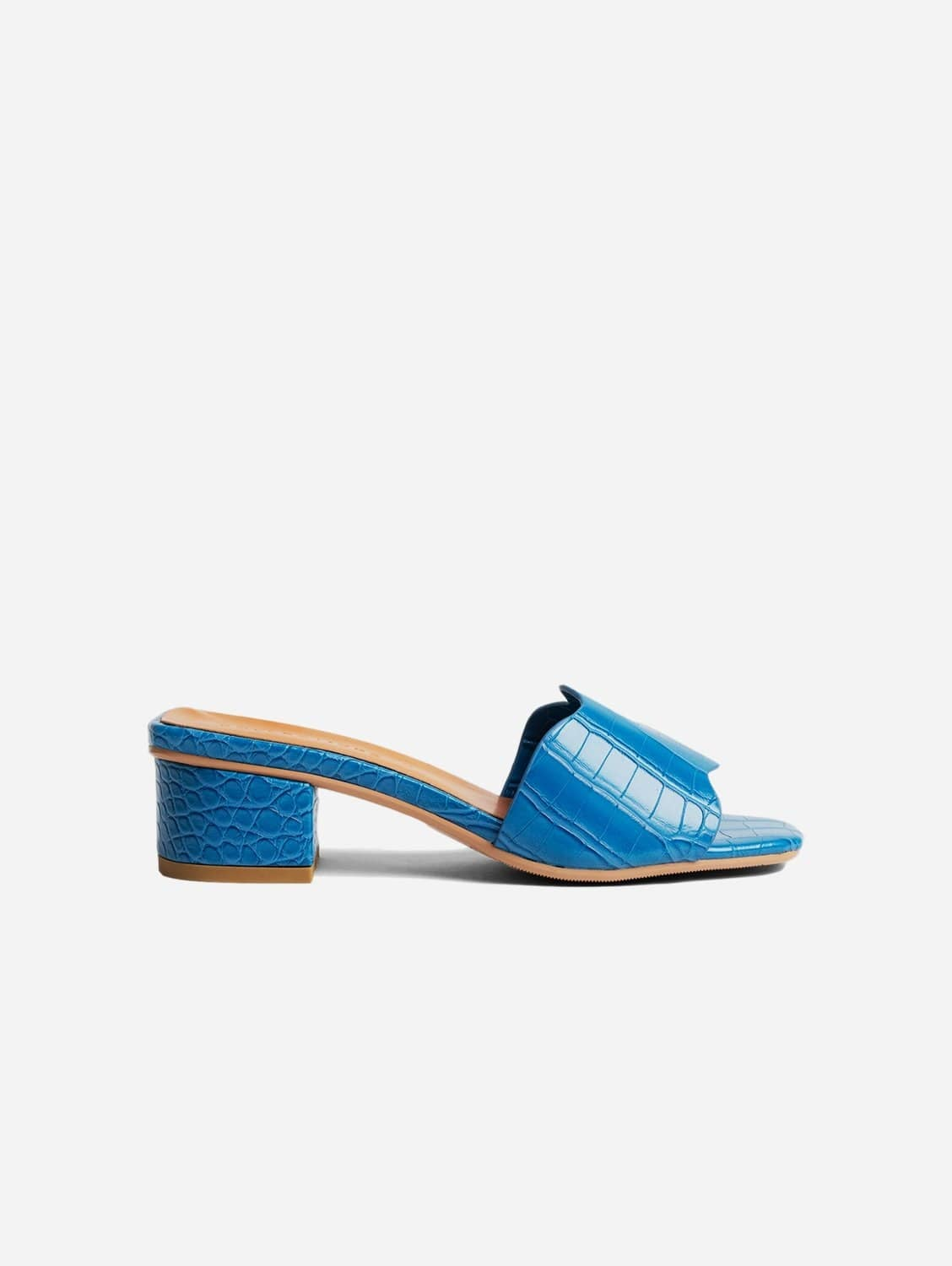 Kitty Up-Cycled Vegan Leather Mule | Blue Croc