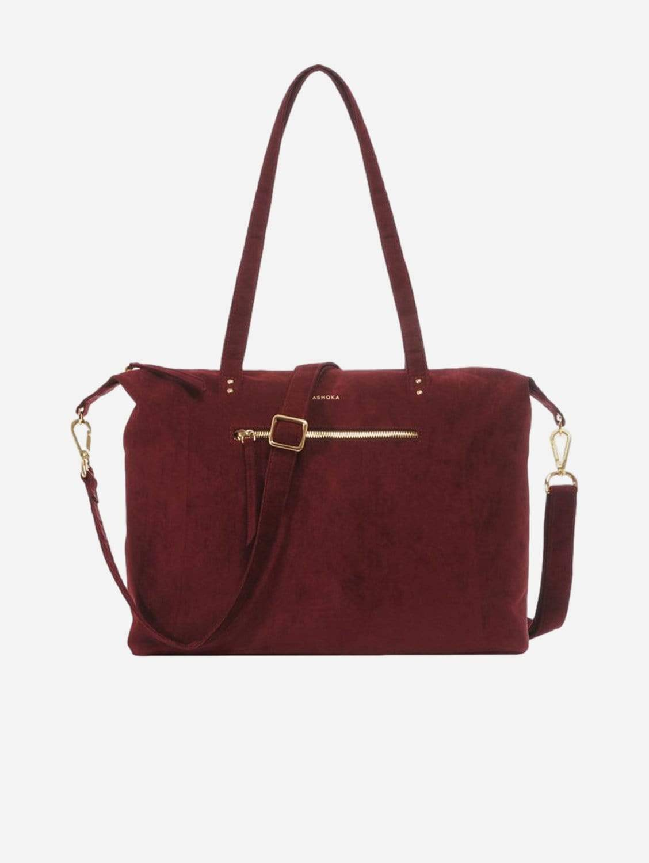 Mia Vegan Suede Tote Bag   Burgundy