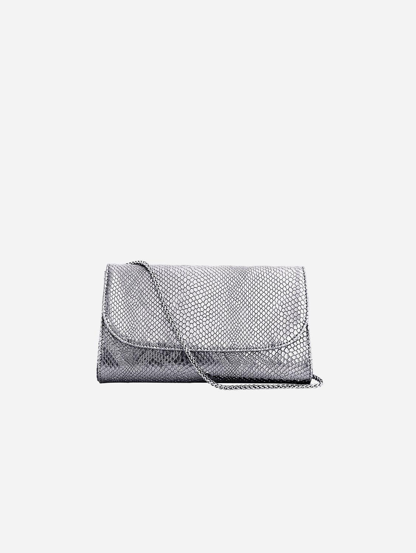 Didi Vegan Leather Clutch   Silver