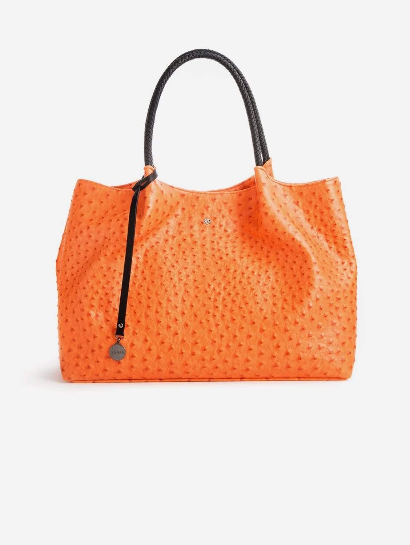 Naomi Vegan Leather Tote Bag   Orange