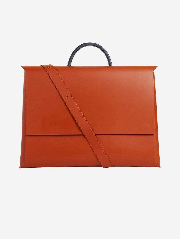 Origami Recycled Vegan Leather Portfolio Bag   Cognac