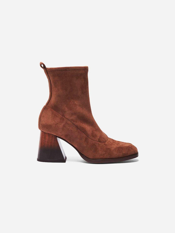 Gabriela Vegan Suede Sock Ankle Boot   Camel