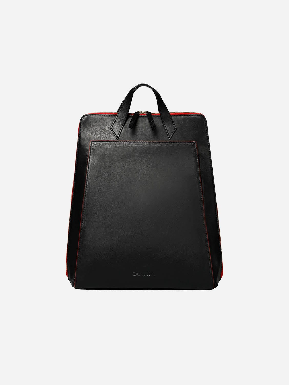 Urban Vegan Leather Backpack | Black & Red