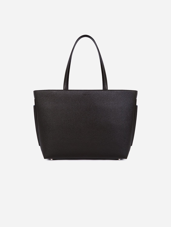 Maya Apple Leather Vegan Tote Bag   Black & Blue