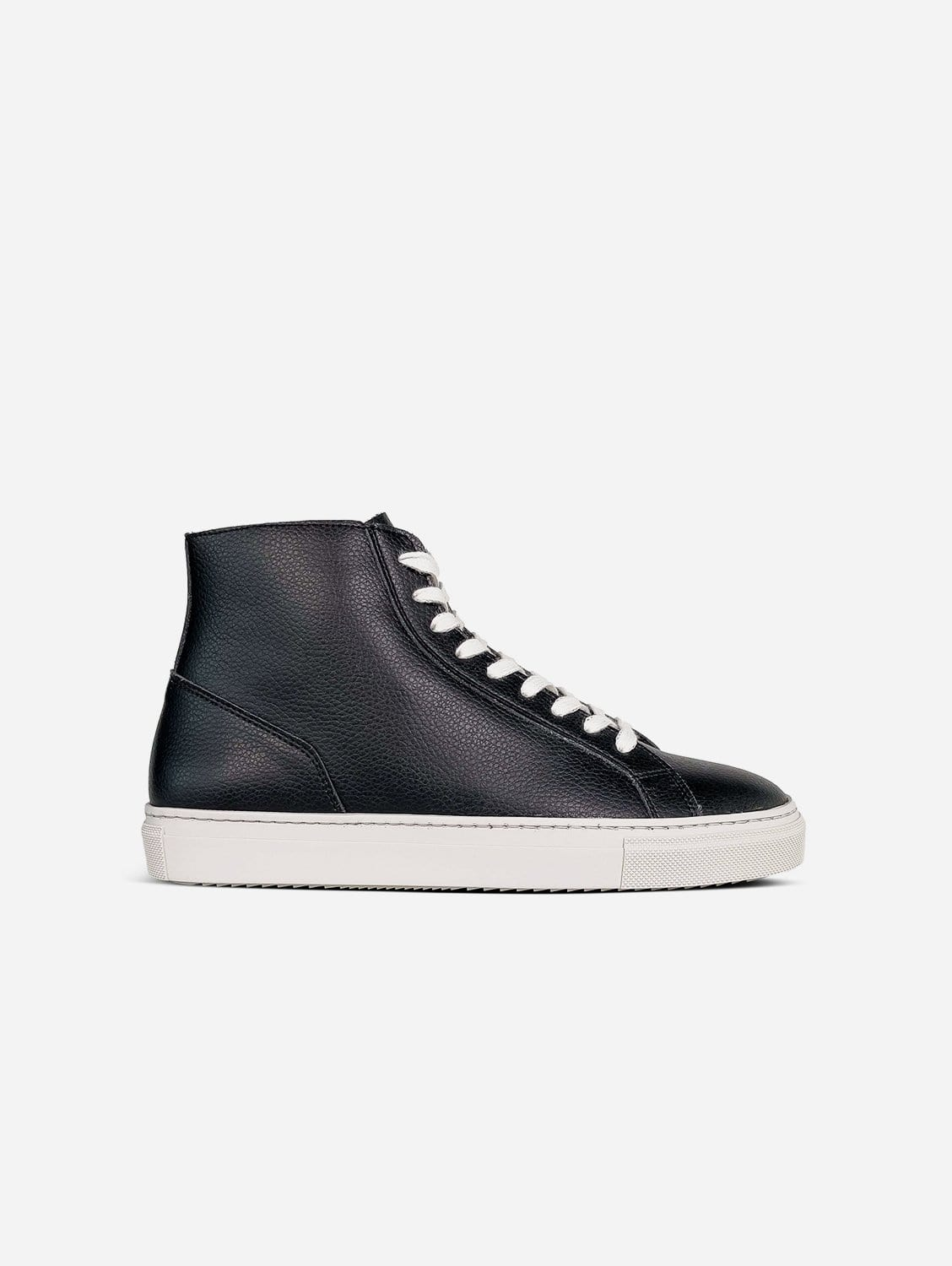 Visby V2 Sustainable Vegan Leather High Top Trainer | Black