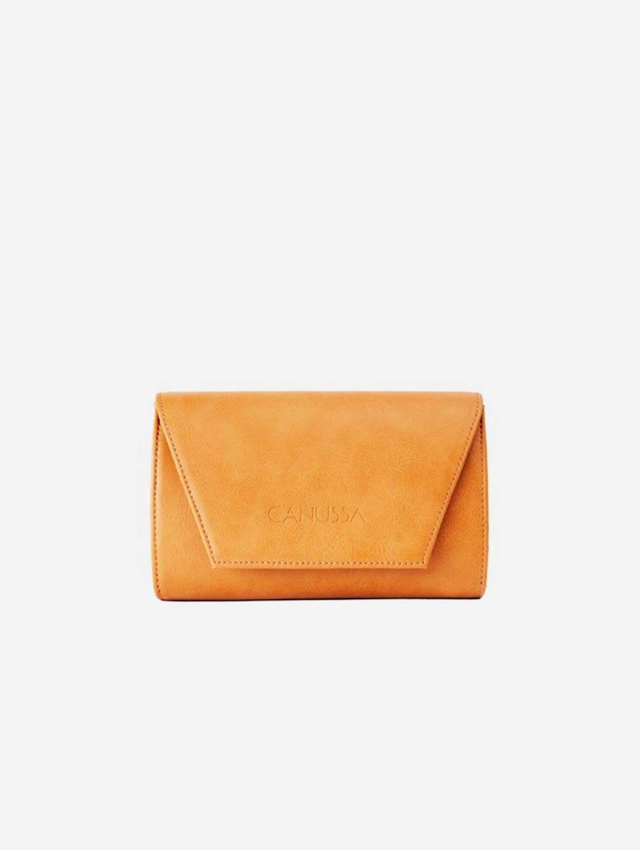 Hybrid Mini Vegan Leather Clutch & Belt Bag | Camel