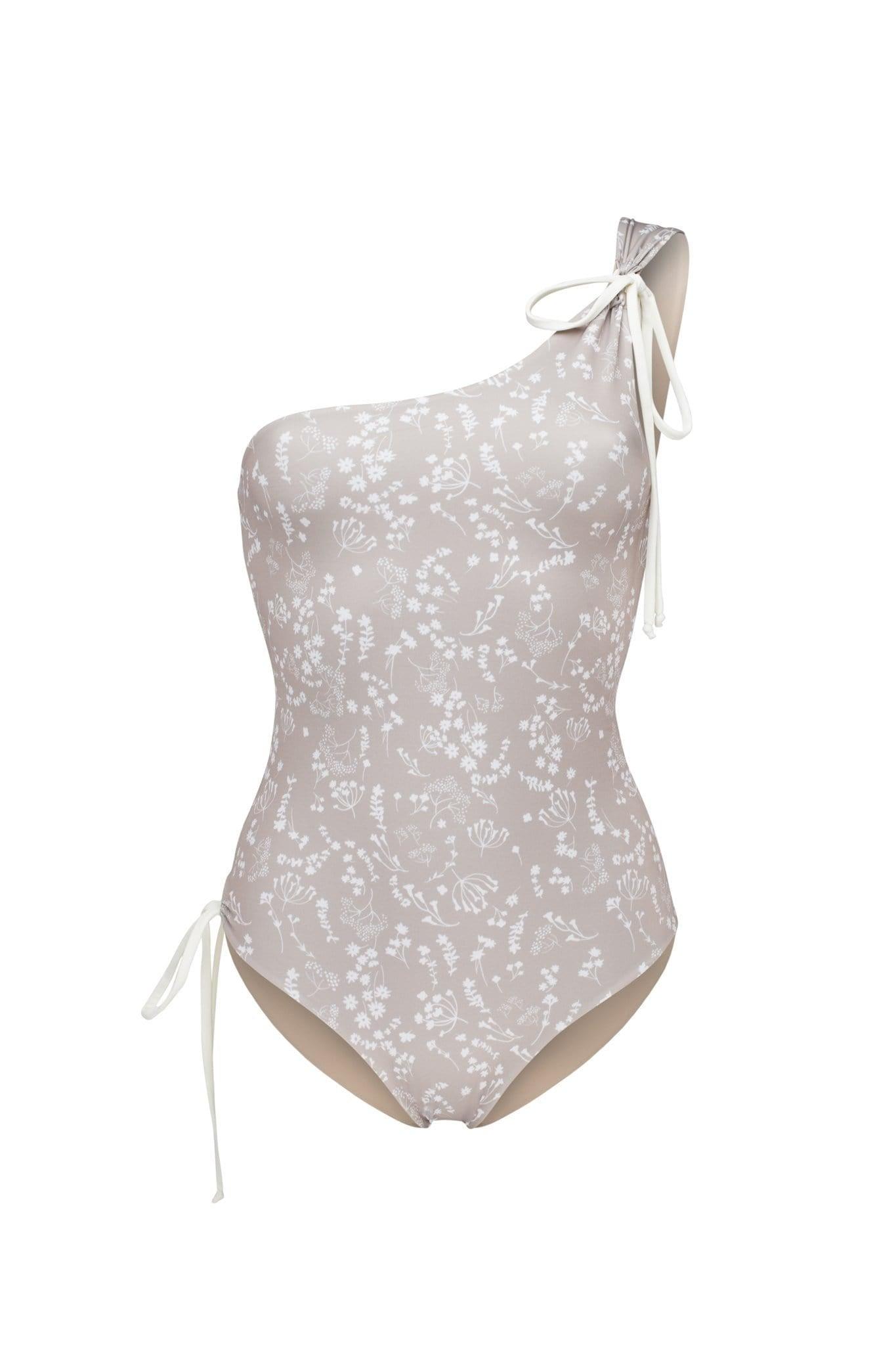 Ozero Swimwear Rotorua ECONYL® Asymmetric One Piece Swimsuit   Reversible Russian Summer Print/Cloud