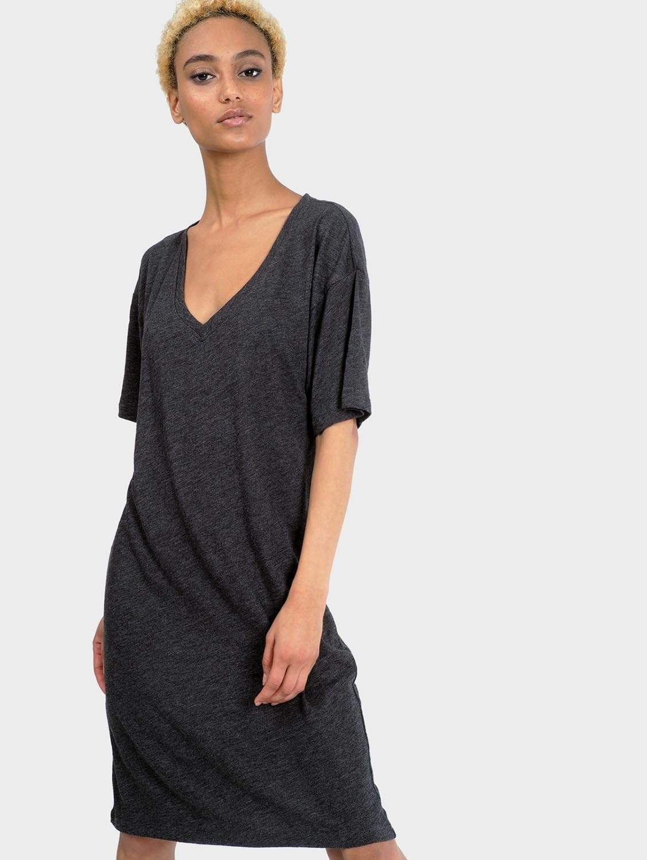 Mika Organic Cotton & Bamboo Rayon T-Shirt Dress | Heather Charcoal