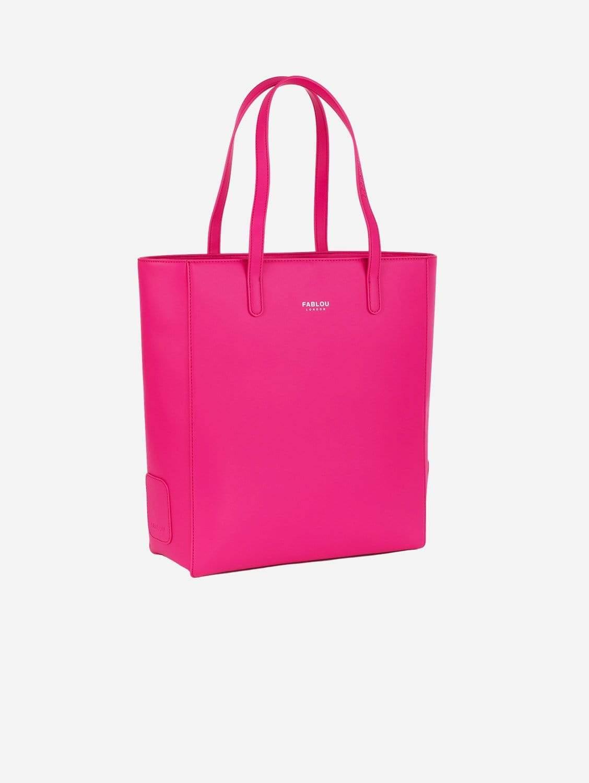 City Vegan Leather Tote Bag   Hot Pink