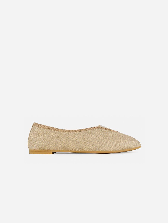 Rhythmic Vegan Ballet Flats | Glittery Beige Linen