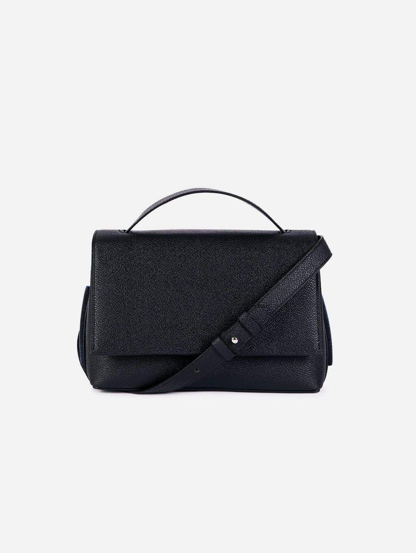 Zanele Apple Leather Vegan Crossbody Bag   Black