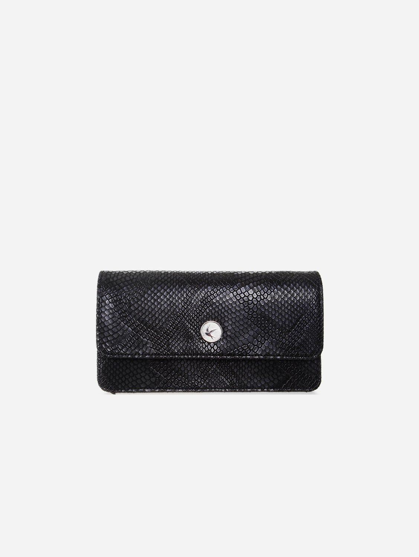 Sara Vegan Leather Chain Wallet Purse | Black