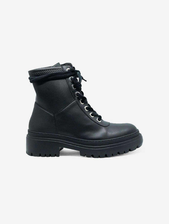 Isolda Vegan Leather Lace-up Boots   Black