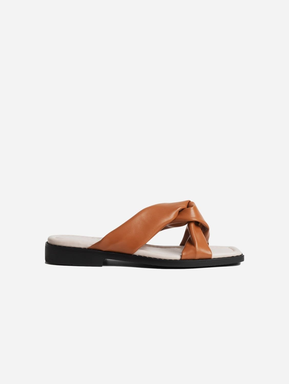 Filia Up-Cycled Vegan Leather Slip-On Sandal | Tan