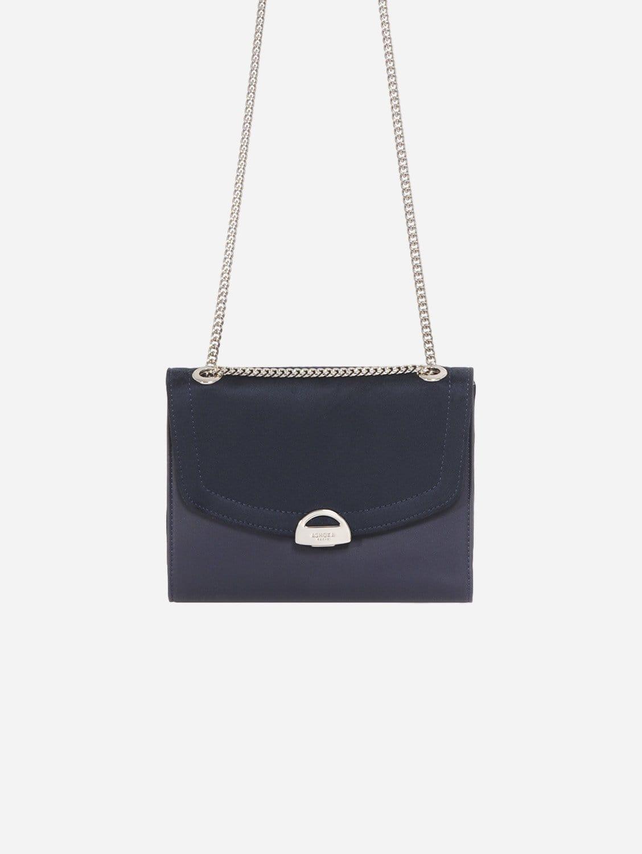 Mini Paname Oxymore Vegan Leather & Microsuede Crossbody Bag   Navy Blue