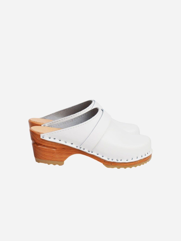 Da Vinci Vegan Leather Clogs   White