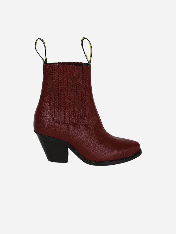 Daisy Apple Leather Vegan Heeled Cowboy Boots | Burgundy