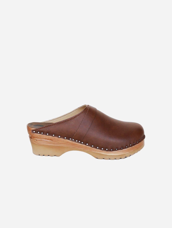 Da Vinci Vegan Leather Clogs   Brown