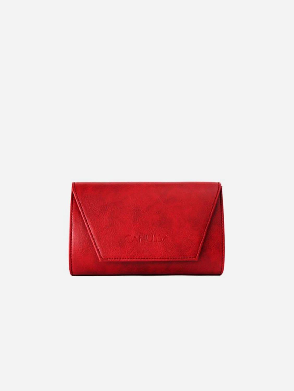 Hybrid Mini Vegan Leather Clutch & Belt Bag | Red