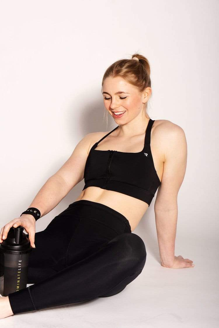 Ryley Bridget Recycled Fabric Racerback Sports Bra | Black