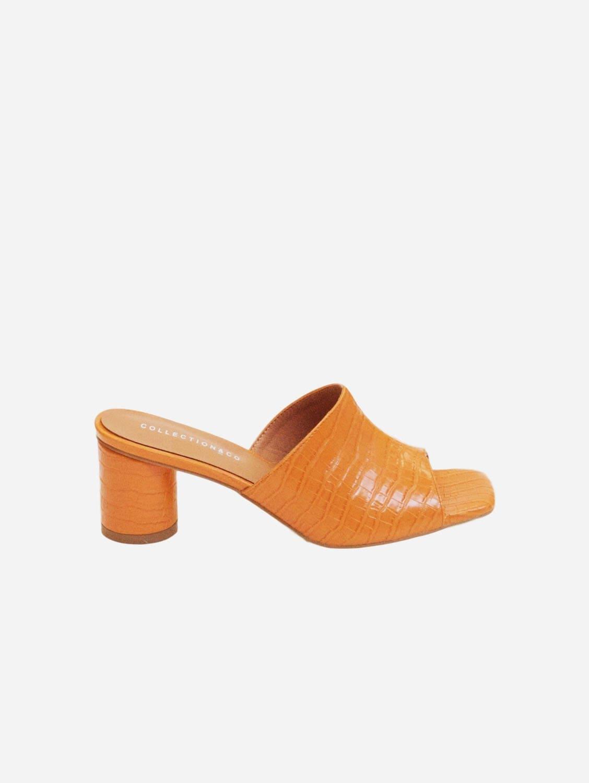 Ama Up-Cycled Vegan Leather Mules   Orange Croc