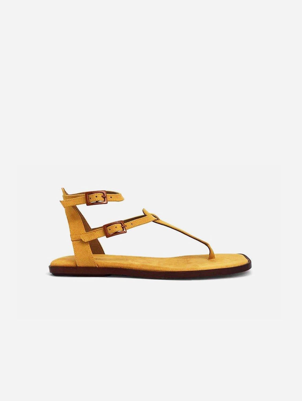 Julieta Recycled Polyester Vegan Suede Strap Sandal | Yellow