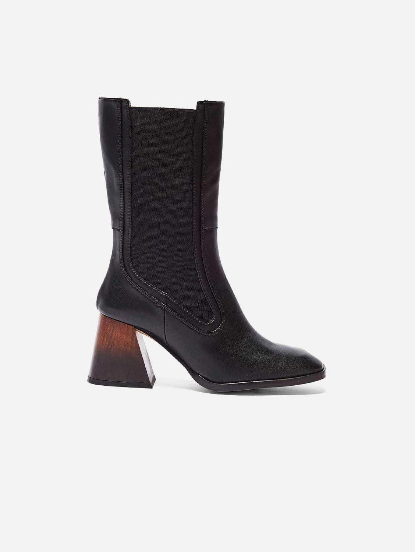 Lola Vegan Leather Boots   Black