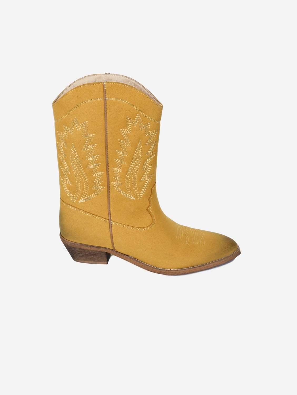 Dakota Vegan Suede Cowboy Boots   Mustard
