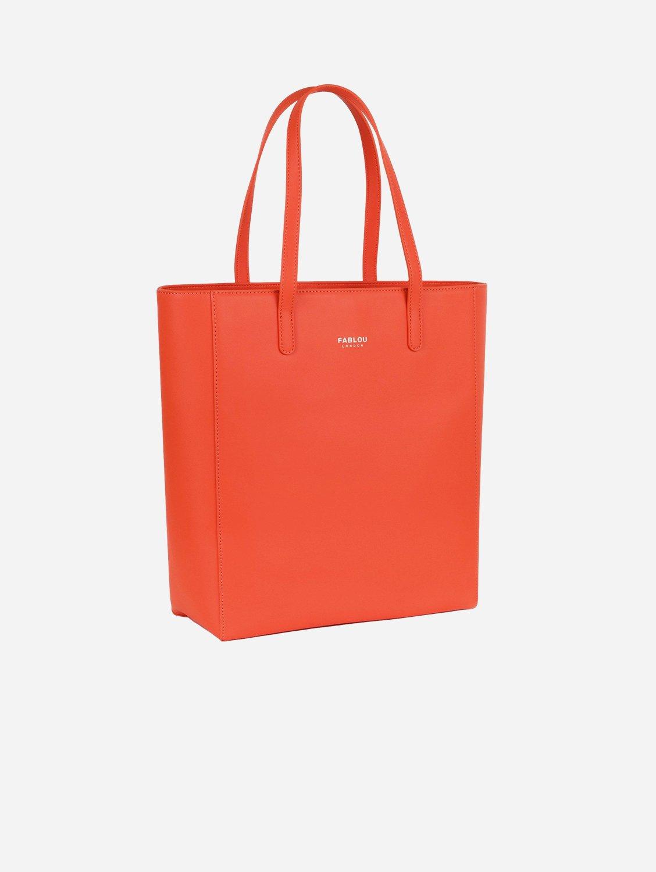 City Vegan Leather Tote Bag   Tangerine