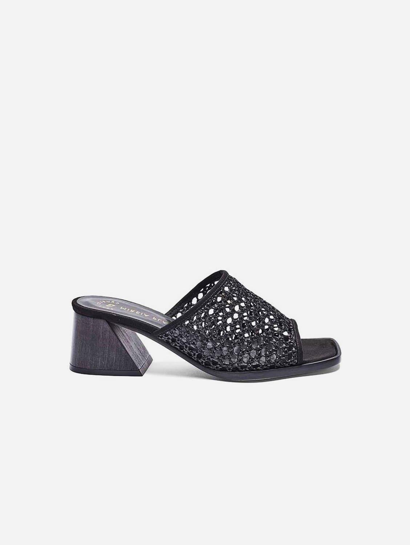 Joana Woven Vegan Leather Mule | Black