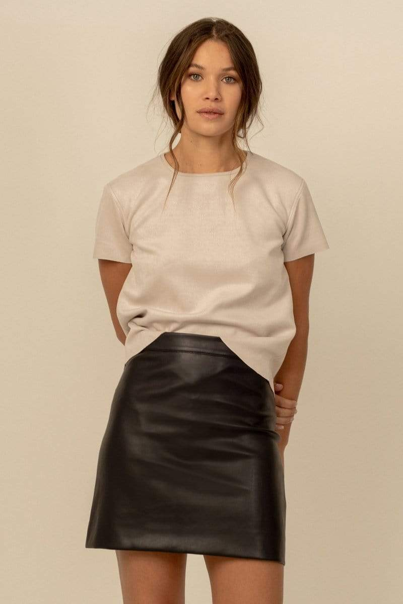 Dauntless Becca Vegan Leather A-Line Mini Skirt   Black