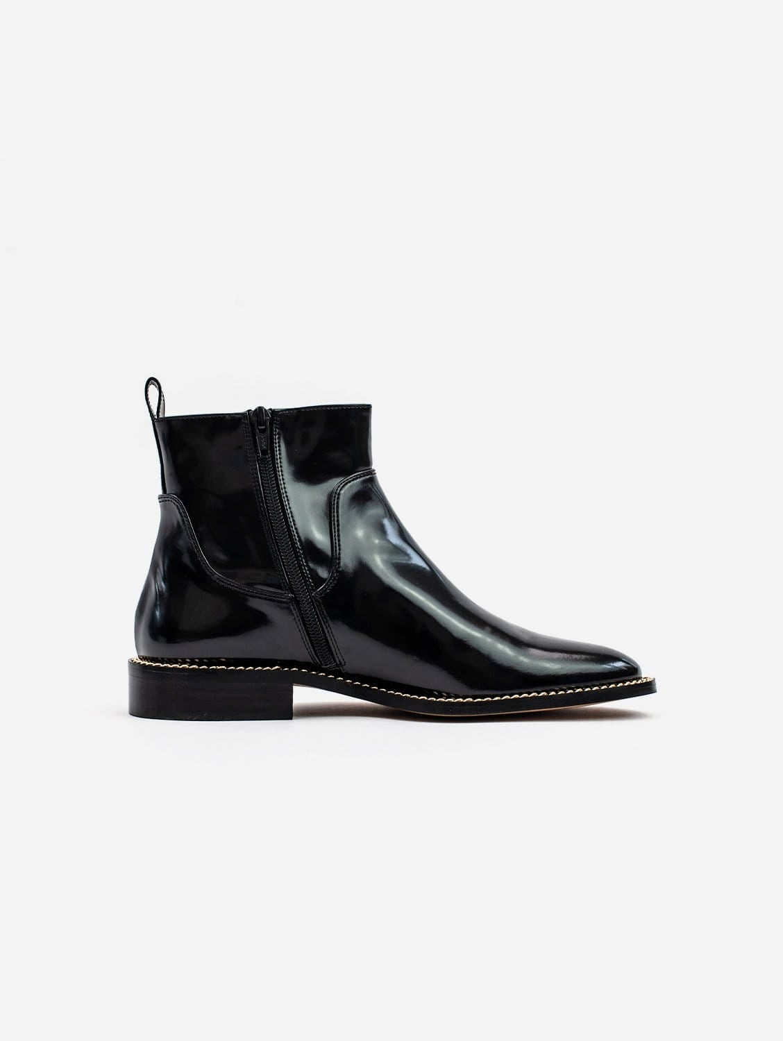 Juliet Vegan High Shine Patent Leather Ankle Boots | Black