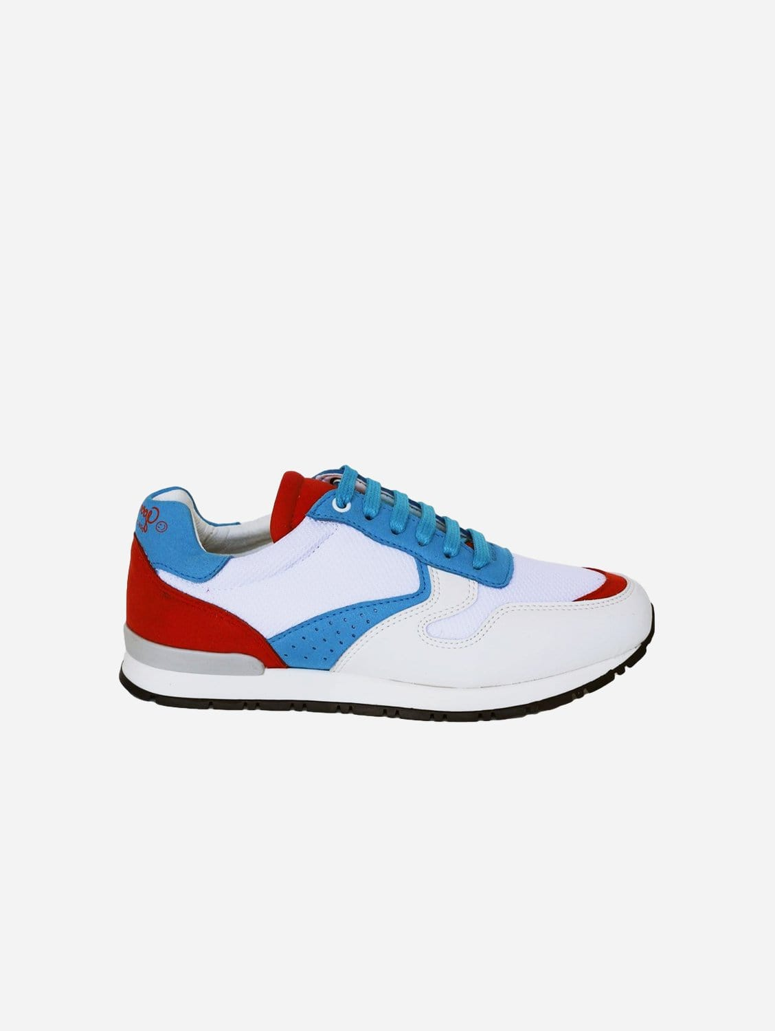 Felix Vegan Suede Trainers   White, Red & Blue
