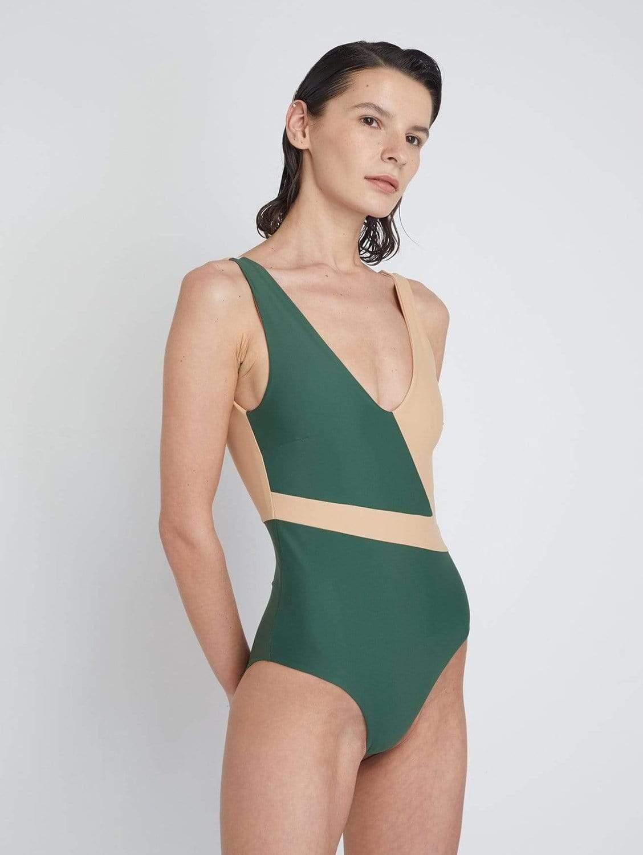 Geneva ECONYL® V-Neck One Piece Swimsuit   Forest Green/Beige