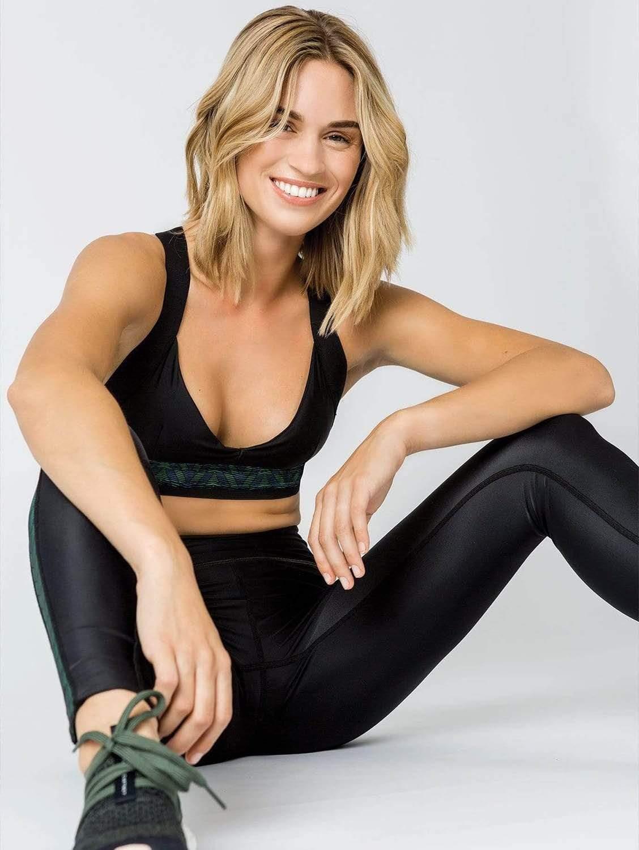 Charo Tulum ECONYL® Recycled Fabric Sports Bra Top | Black Print